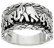 JAI Sterling Elephants & Sukhothai Texture Ring - J331252