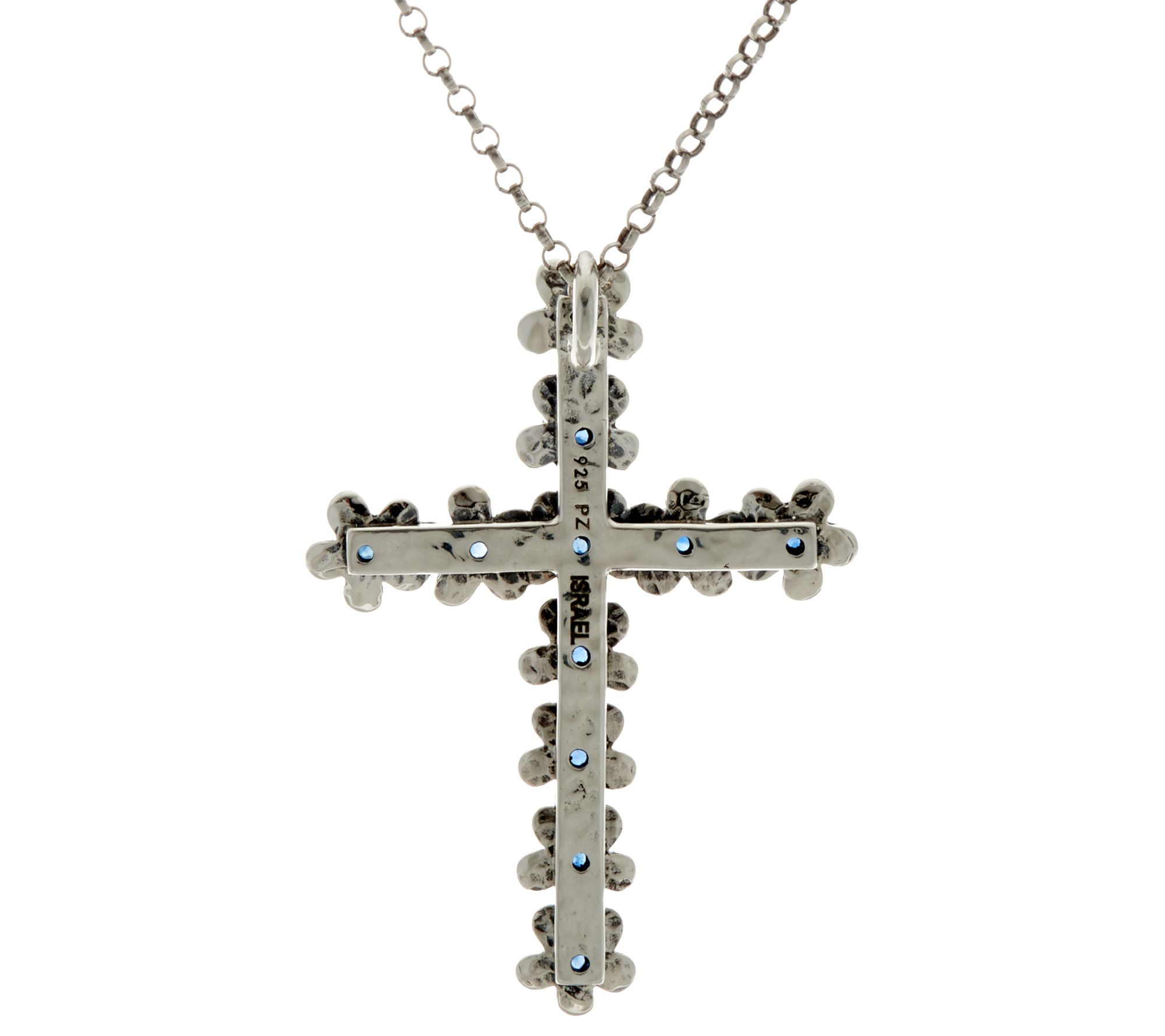 Sterling Silver Precious Gemstone Cross Pendant w Chain by Paz