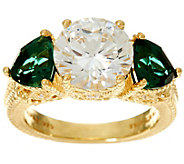 Judith Ripka 14K Clad Diamonique & Simulated Green Quartz Ring - J334152