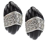 As Is Kenneth Jay Lanes Fluted Crystal Demi Hoop Earrings - J334352
