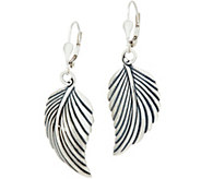Sterling Silver Leaf Design Lever Back Earrings by American West - J348452