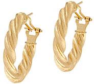 As Is Arte d Oro Polished Twist Design Omega Back Earrings, 18K - J348552