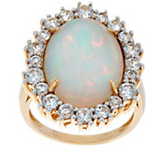 Ethiopian Opal & White Zircon Bold Cocktail Ring, 14K Gold - J350052
