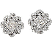 Princess & Round Pave Rope Border Studs, 1/4 cttw, 14K, by Affinity - J352052