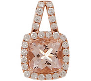 Cushion Cut Morganite and Diamond Pendant, 14K, 1.30 cttw - J353752