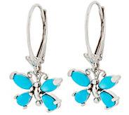 Turquoise or Ethiopian Opal Butterfly Earrings, Sterling Silver - J354052