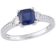 14K 1.60 cttw White & Blue Sapphire and 1/10 cttw Diamond Ring - J377052