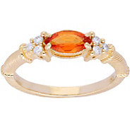 Judith Ripka 14K Gold Orange Sapphire Diamond Ring - J379952