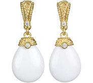 Judith Ripka Sterling & 14K Clad Agate & Diamonique Earrings - J380052