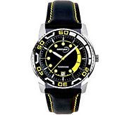 Tourneau Mens Stainless Black Leather Strap Sport Watch - J380652