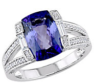 14K Gold 3.20 cttw Cushion Tanzanite & 1/2 cttwDiamond Ring - J383652
