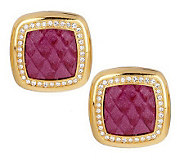 Joan Rivers Python Pattern and Crystal Button Earrings - J152753