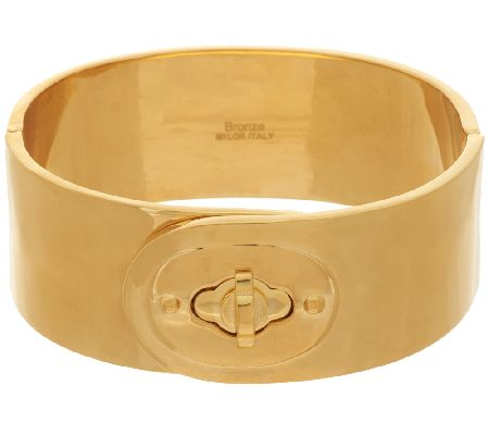 Bronze Bold Turnlock Clasp Hinged Bangle Bracelet by Bronzo Italia - J268953