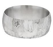 Italian Silver Sterling Large Engraved Textured Hinged Bangle - J274753