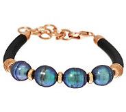Honora Cultured Pearl 10.0mm Station Leather Bronze Bracelet - J285153