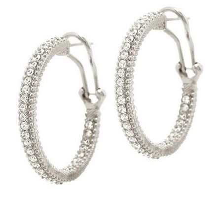 "Product image of Judith Ripka Sterling or 14K Clad Diamonique 1"" Hoop Earrings"