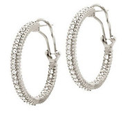 Judith Ripka Sterling or 14K Clad Diamonique 1 Hoop Earrings - J285753