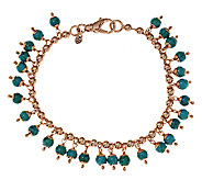 Bronze Turquoise & Bead Ankle Bracelet by Bronzo Italia - J293453