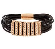 As Is VicenzaSilver Sterling Leather Bracelet - J294253