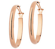 Bronze 2 Oval Wedding Band Omega Back Hoop Earrings by Bronzo Italia - J294953