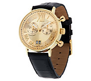 As Is Vicence Roman Numeral Dual Sub-dial Watch, 14K Gold - J296553