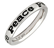 Simply Stacks Sterling Polished & Epoxy EnamelPeace Ring - J299153