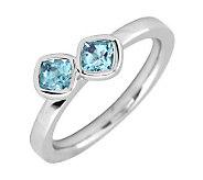 Simply Stacks Sterling Aquamarine Double-SquareGemstone Ring - J299353