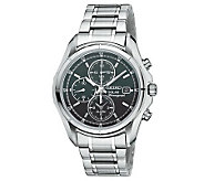 Seiko Mens Solar Alarm Chronograph Watch withBlack Dial - J303953