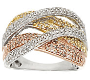 Pave Tri-Color Diamond Ring, Sterling, 3/4 cttw, by Affinity - J318553