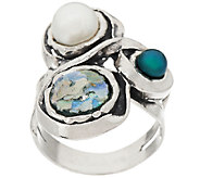 Sterling Silver Roman Glass & Cultured Pearl Ring by Or Paz - J318653