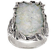 Sterling Silver Leaf Border Roman Glass Elongated Ring by Or Paz - J318853