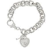 Judith Ripka Verona 8 Heart & Key Charm Bracelet 36.9g Sterling - J320053