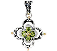 Barbara Bixby Sterling & 18K Peridot & White Topaz Double Flower Enhancer - J320153