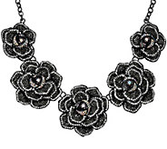 Joan Rivers Extravagant Pave Rose 18 Statement Necklace - J321553