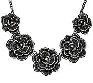 Joan Rivers Extravagant Pave Rose 18 Statement Necklace - J321553