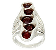 Hagit Sterling Silver Garnet Elongated Ring - J323553