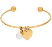 Stainless Steel Heart & Pearl Charm Cuff Bracelet - J323853