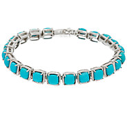 Sleeping Beauty Turquoise 7-1/4 Sterling Silver Tennis Bracelet - J324053