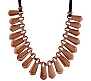 LOGO Links_by Lori Goldstein Metal Bib Necklace with Cord - J326653