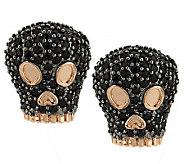 As Is Bronzo Italia 1.00cttw Black Spinel Skull Stud Earrings - J327053