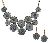 As Is Joan Rivers Shimmering Floral Necklace & Earrings Set - J327853