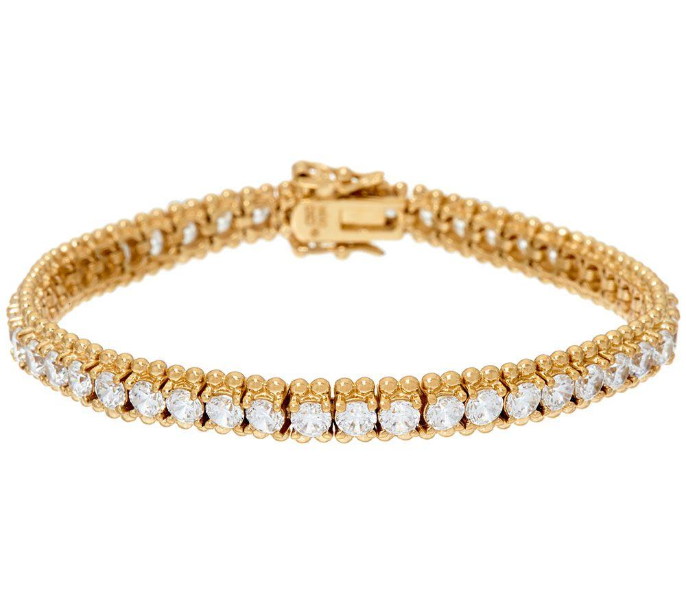 Diamonique Bead Design Tennis Bracelet Sterling or 14K Clad - Page ...