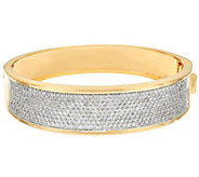 As Is Bronzo Italia Pave Crystal Oval Hinged Bangle - J328553