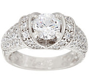 Diamonique Pave Love Ring, Platinum Clad - J328953