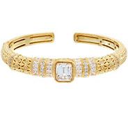 Judith Ripka 14K Clad 6.90 cttw Diamonique Cuff Bracelet - J329053