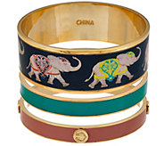 C. Wonder Set of 3 Elephant Print & Solid Enamel Round Bangles - J329253