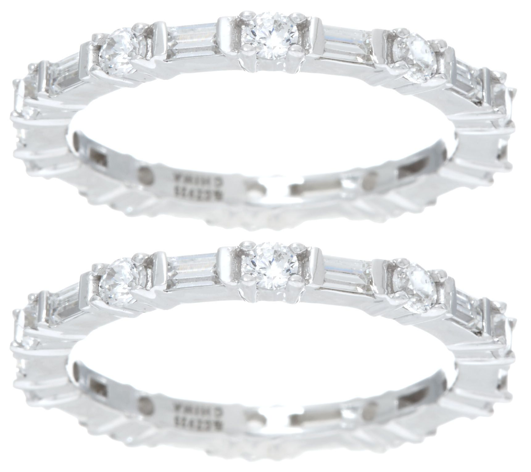 baguette cut anniversary stackable diamond white gold band pin princess bands