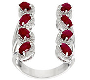 Mozambique Ruby & Diamond Elongated Sterling Ring 2.00 cttw - J330853