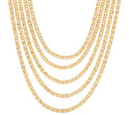 14K Gold 18 5-Strand Byzantine Layered Necklace, 31.5g - J331553