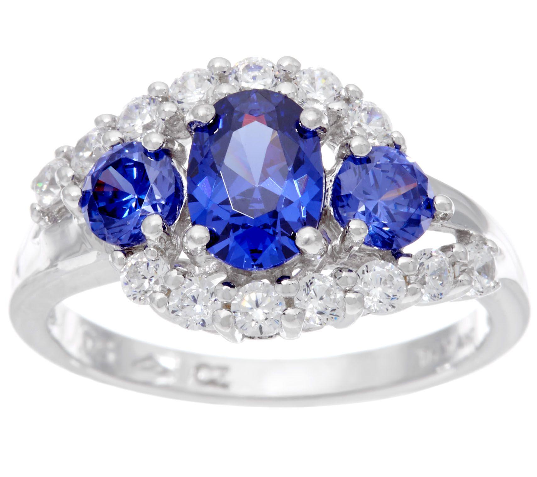 """As Is"" Diamonique & 3 Stone Simulated Tanzanite Ring ..."